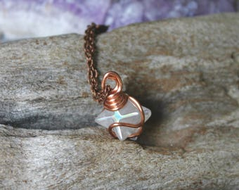 Angel Aura Quartz Necklace - MERKABA Jewelry - Angel Quartz Crystal Necklace - Crystal Jewelry - Rainbow Aura Quartz Jewelry - Boho Necklace
