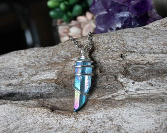 Blue Crystal Necklace - Rainbow Aura Quartz Jewelry - Gypsy, Indie Jewelry - Wire Wrapped Crystal Pendant - Titanium Aura Quartz Necklace