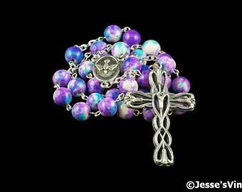 Anglican Rosary Beads Purple Blue White Rain Flower Stone Prayer Beads Silver Christian Episcopal Rosary