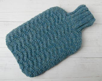 Hot water bottle Cover in turquoise ripple pure Scottish Wool