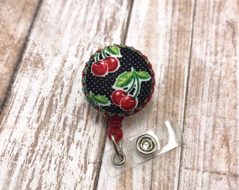 Rockabilly Pin Up Girl Cherries Fruit Cute Fabric Button Vintage Style Retractable ID Badge Reel Name Tag Nurse Rn Cna Technician Medical Md