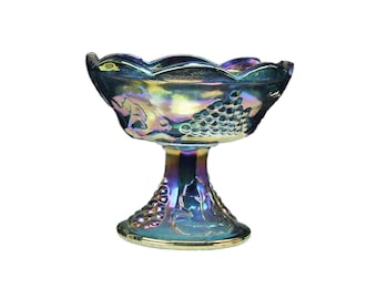 Love Vintage Peacock Blue Purple Iridescent Grape Pattern Carnival Glass Pedestal Compote Scalloped Lip Rim Iridized