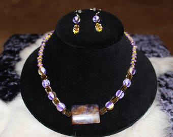 Necklace with Multi Hued Resin Rounds and Purple and Amber Focal  07-66