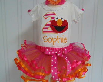 Elmo Birthday Outfit- Personalized Onesie/T-Shirt/Tutu-Cute Sesame Street Birthday outfit