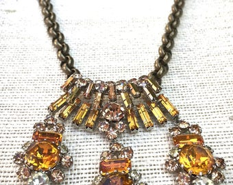 Whisky gold statement necklace- vintage jewelry dangle necklace- Vintage Topaz  Bridal Necklace Choker, Mid Century Bridal Rhi...
