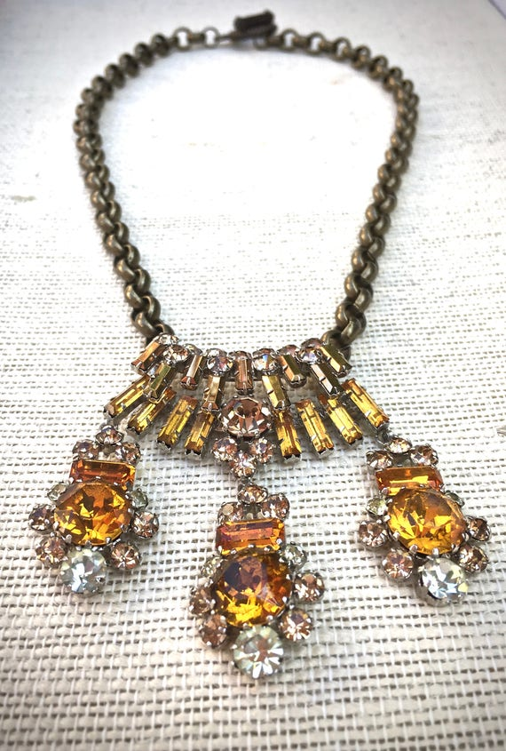 Autumn gold statement necklace- vintage jewelry dangle necklace- Vintage Topaz  Bridal Necklace Choker, Mid Century Bridal Rhi...