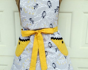 Full Apron Reversible Womens Apron Gray and Yellow with Birds