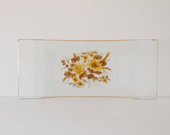Vintage Glass Tray - Floral Tray - Vtg Glass Floral Tray - Decorative Display Tray - Brown and Yellow Floral Design Glassware - 1960s Decor