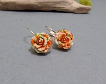 Orange Rose Earrings - Rose Earrings - Flower Earrings - Spring Floral Earrings - Rose Gold Earrings - Leverback Earrings
