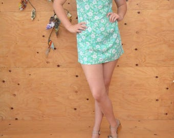 Vintage 60's Sweet Floral Mint Green Print Summer Dress Brady Bunch Fabulous S/M