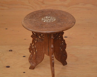 Vintage Moroccan Indian 70u0027s End Table Dark Brown Wood Bohemian Style With  Floral Bone Inlay