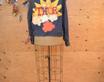 Vintage 70's LEE Appliqué Button Up Dark Denim Jean Coat With Elaborate Thor Star Patch SZ S/M