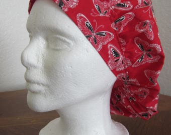 Red Butterfly - Bouffant Surgical Scrub Hat