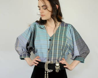 Periwinkle blues and purples plaid peasant blouse 1990s 90s VINTAGE