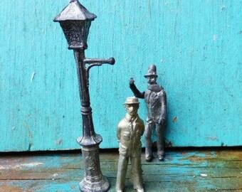 Vintage miniature lead people lamp post 2 men village diorama art craft supplies decor