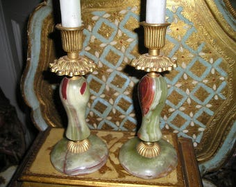 Vintage Italian Onyx and Bronze Chic Candle Holders/Sticks. Grand Pair.