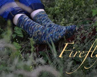 FIREFLY ~ Sock knitting pattern - easy- for all wool/Ramie or similar sport weight yarns