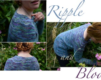 RIPPLE & BLOOM ~ knitting pattern for our SOFTWOOL Sport ~ woolen Cardigan for women in sizes S-L