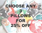 SALE 25% OFF. You pick any 3 Hand Block Printed Pillows. Choose ANY Colors.  Made to Order.