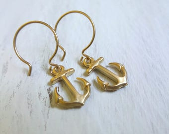 Gold Anchor Earrings, Anchor Earrings, Nautical Earrings, Anchor Jewelry, Sailor Earrings, Gold Anchor Charm, Summer Party, Summer Outdoors