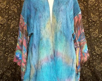 Crinkle Silk Festival Kimono Abstract Design with Sheer Sleeves