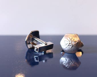 Sterling Silver etched Manchester Bee Mens Cufflinks