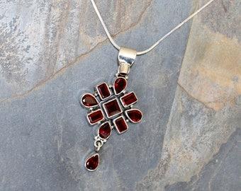 Garnet Necklace, Gemstone Necklace, January Birthstone Necklace, Red Necklace, Burgundy Necklace, January Necklace, Bohemian Necklace