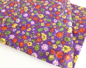 Quilted Satin Fabric in a Purple, Green, Yellow, Red, and Pink Floral Print Vintage Remnant Scrap