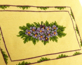 Pansies Finished Needlepoint Project Purple and Green on Yellow