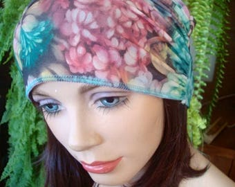 womens swim headband green floral    swim headband wide  lycra headband turband bathing cap