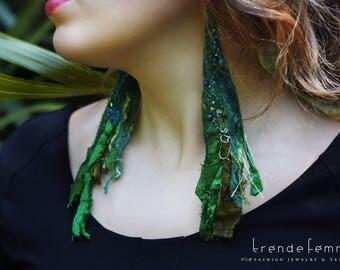 Felted Recycled Sari Silk Earrings, Emerald   Bohemian Wearable Art