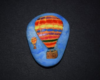 Hot Air Balloon Handpainted on a Rock