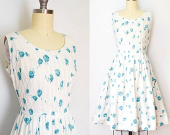 Vintage 1950's Jerry Gilden Aqua Rose Dress