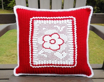 Crochet Throw Pillow COVER Red White Stitched Embroidered Flower Applique Unique Handmade Home Decor Gift Idea Reversible