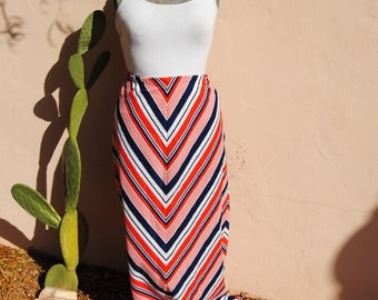 Vintage 1970's Red White and Blue Striped Maxi Skirt