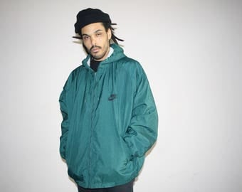 XL Oversize 90s Vintage Nike Forest Green Quilted Hooded Hip Hop Windbreaker Jacket - 1990s Nike Jacket - 90s Clothing - MV0496