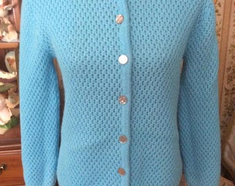 Vintage 1960s Sweater Cardigan Light Blue 100% Acrilan Acrylic By Americana Knitting Mill Of Miami Inc