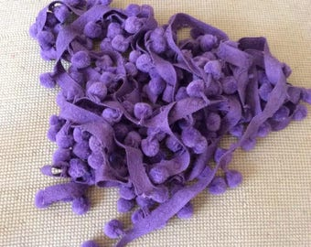 Vintage 1960s 1970s Pom Pom Dingle Balls Total Of 209 Purple Attached To A Band There Are 2 Separate Strings Crafts Arts Sewing