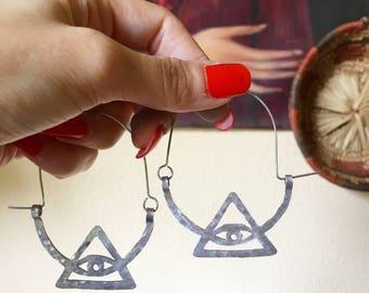 Eye earrings, metal eye in triangle hoop earrings, ojo earrings