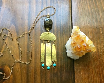 Garnet pendant necklace, hammered brass fringe necklace