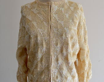 OFF WHITE SEQUIN bomber cropped Sweater jacket Blouse Diamond Pattern Runway Collection 1960