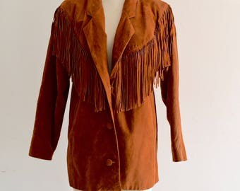 Leather Fringe Golden Brown Cowboy Southwestern Rodeo Hipster Hippie Fringe Suede Jacket Blazer 1970
