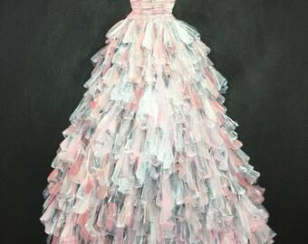 Fashion Painting. Vintage Dress. Vintage Fashion. Dress Painting. Gifts for Her. 1950's dress. Vintage fashion art. Fashion Wall Art. 1950s.