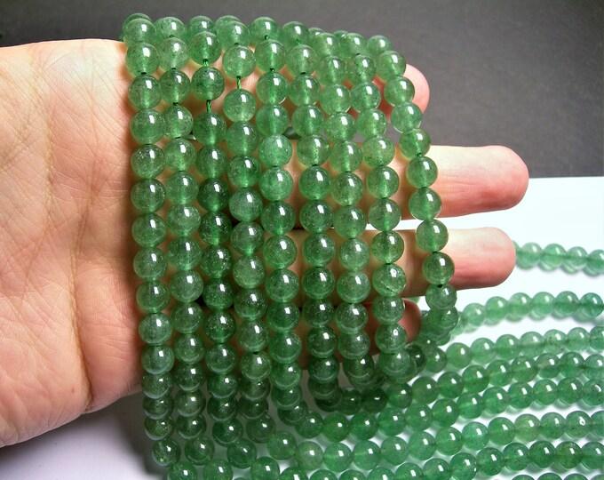 Green Strawberry quartz  - 8 mm - 48 beads - full strand - Genuine green strawberry quartz - Green lepidocrocite - RFG1386