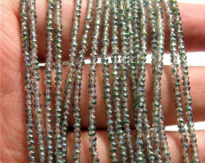 Crystal - rondelle  faceted 1mm x  2mm beads - 193 beads - sparkle watermelon AB - full strand - VSC31