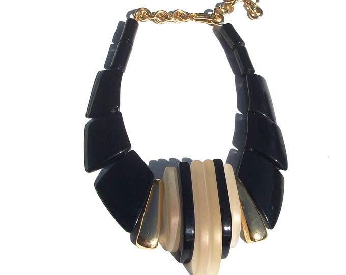 Deco Inspired Necklace | black and gold beaded 70s vintage gold chain avant garde statement necklace unique gift present