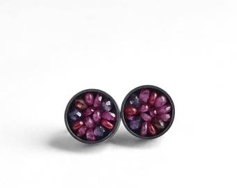 Seed Pod Ear Studs - Gemstone Silver Earrings - Pink Sapphire Earrings - Ruby Silver Ear Studs - garnet ruby ear studs - Sculptural Earrings