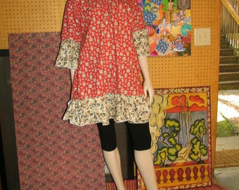 OOAK One of a Kind Tunic Top Hippie Dress Boho Top M-XL