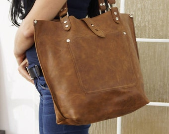 Leather tote, leather tote bag, big leather tote, leather tote woman, leather tote women, Large Leather Tote, Ria - distressed tan