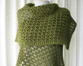 Hand Knit Scarf Wrap Shawl in Soft Mohair Wool in OLIVE Green / Feminine Gift / Ready to ship